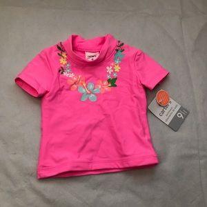 5/$25 CARTER'S short sleeve swim top -bright pink